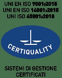 UNI EN ISO 9001:2015, UNI EN ISO 14001:2015, UNI EN ISO 45001:2018